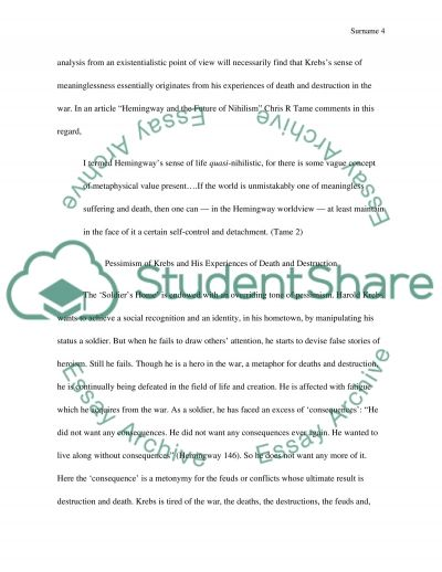 literary essay on hemingway s short story ier s home  text