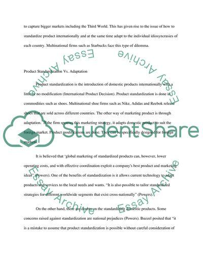 Product Standardization Strategy of Starbucks Case Study