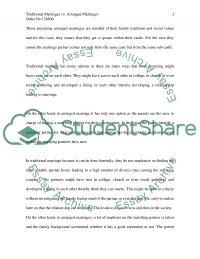 Traditional Marriages vs. Arranged Marriages essay example