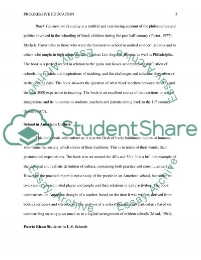 Progressive Education Essay