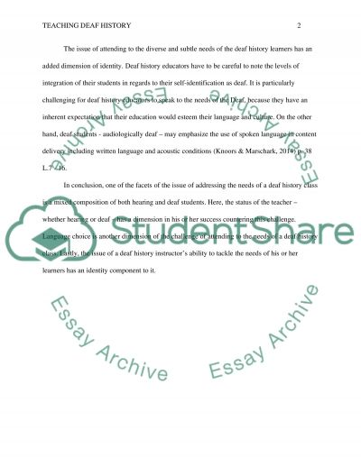 RQ#1: What is the most significant issue in teaching Deaf History essay example