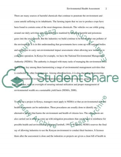 Environmental Health Assessment Case Study essay example