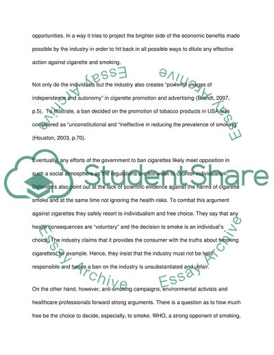 should smoking cigarettes be banned essay
