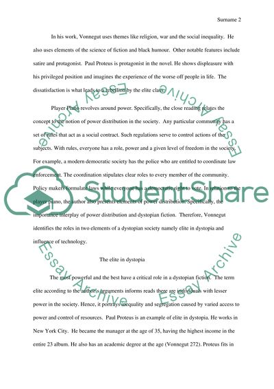 Sample Synthesis Essays Close Reading Of Player Piano By Kurt Vonnegut Argumentative Essay Proposal also English Example Essay Close Reading Of Player Piano By Kurt Vonnegut Essay Sample Essays For High School Students