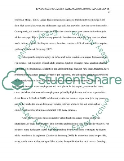 Encouraging Career Exploration among Adolescents essay example