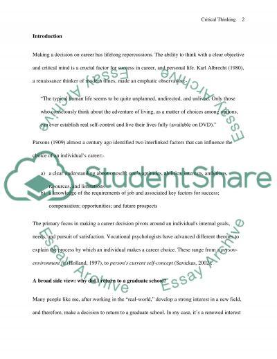 Critical Thinking Skills Essay essay example