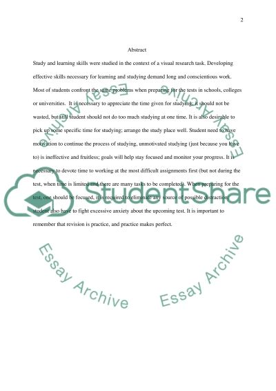 Study and learning skills essay example
