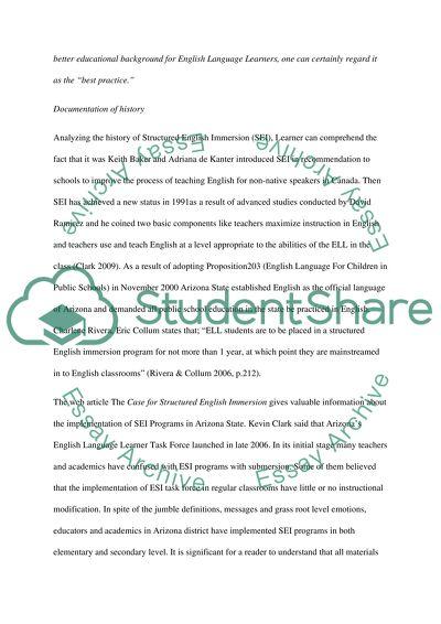 Structured English Immersion in ArizonaSschools