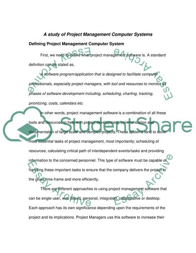 Project Management Computer Systems