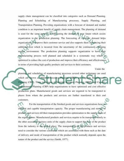 Strategic Supply Chain Managemnt essay example