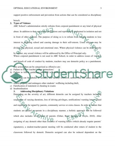 Assignment 3: Optimal Educational Environment, Part 1 essay example