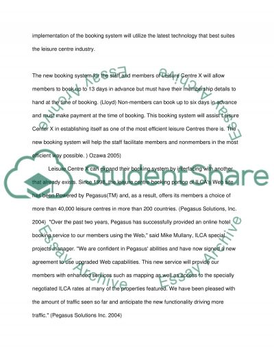 Leisure Centre Booking System Essay example