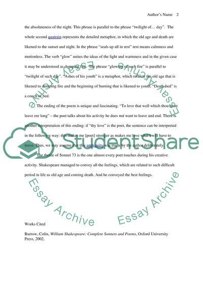 Sonnet 73 essay