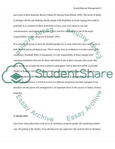 Principles and Practice of Leadership and Management in a Learning Disability Context essay example