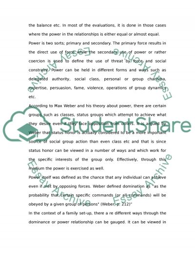 Power and Family Essay example