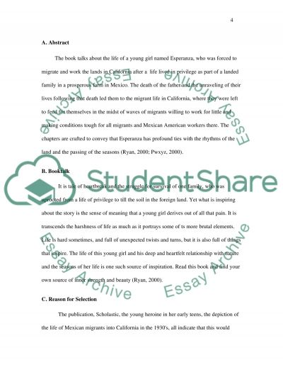 Esperanza Rising book talk essay example