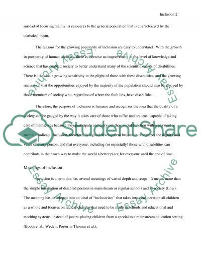 Inclusion essay example