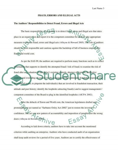 Fraud, Errors and Illegal Acts essay example