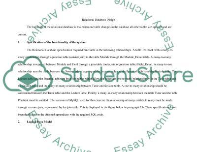 Relational Database Design essay example