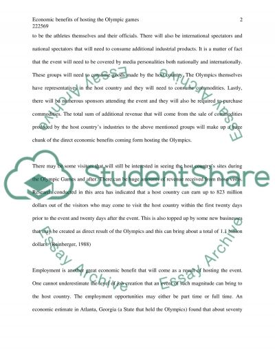 Hosting the Olympics essay example