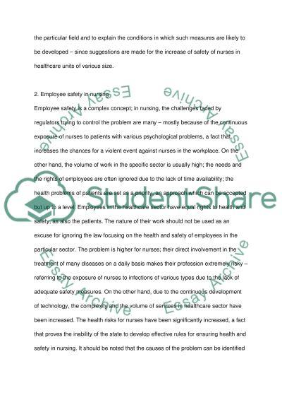 Employee Safety in Nursing essay example