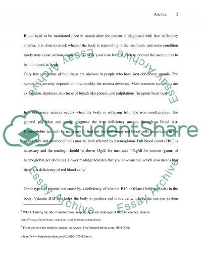 Anemia essay example
