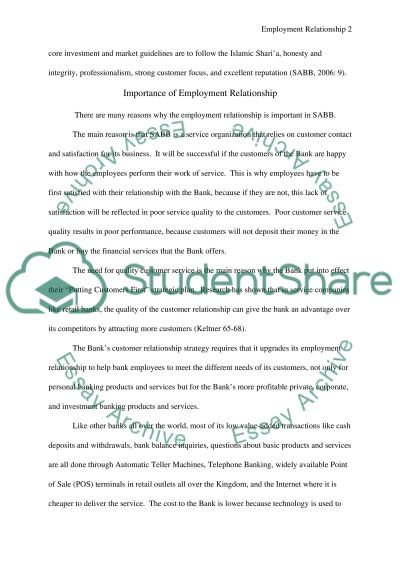 Nature of employment relationship Essay example