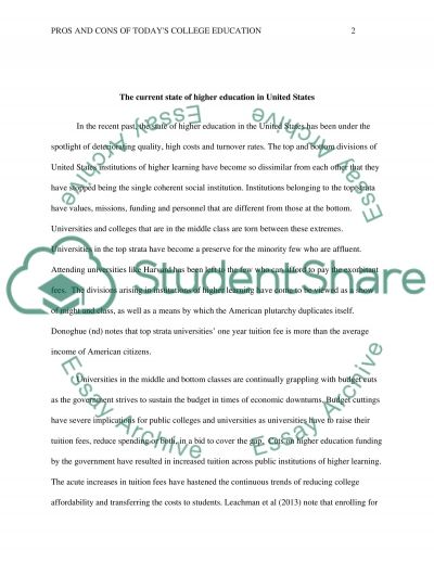 Pros and Cons of Todays College Education essay example