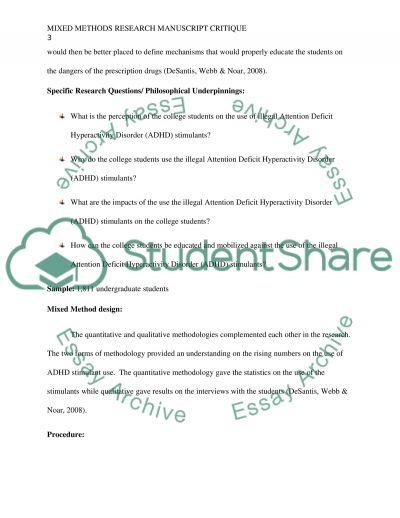 Mixed Methods Research Manuscript Critique essay example