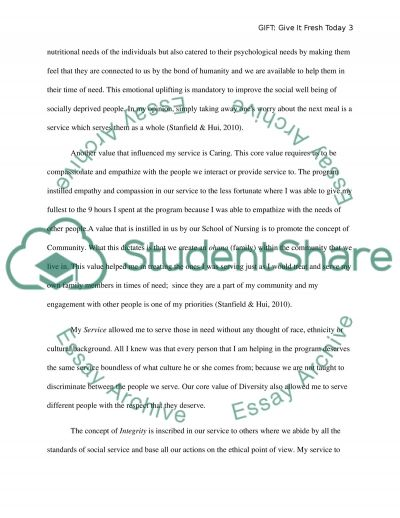 Service Learning Reflection Paper on GIFT: Give It Fresh Today essay example