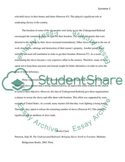 Personal Essay Examples For High School Underground Railroad Essays In Science also Topics For High School Essays Underground Railroad Essay Example  Topics And Well Written Essays  Science Fiction Essay Topics