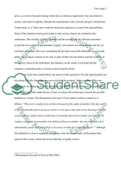 Cases for Analysis essay example