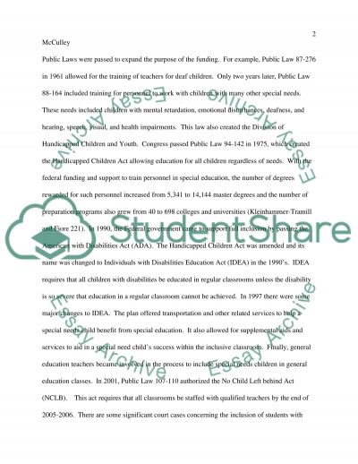 The Inclusive Classroom: The Teachers Response and a Students Right essay example