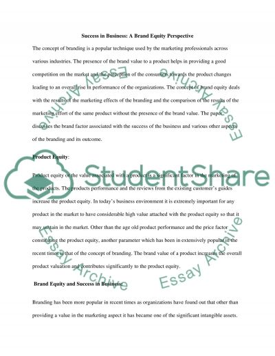 Success in Business: A Brand Equity Perspective essay example