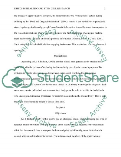 Ethics in Healthcare: Stem Cell Research essay example