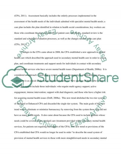 Current trends in Mental health essay example