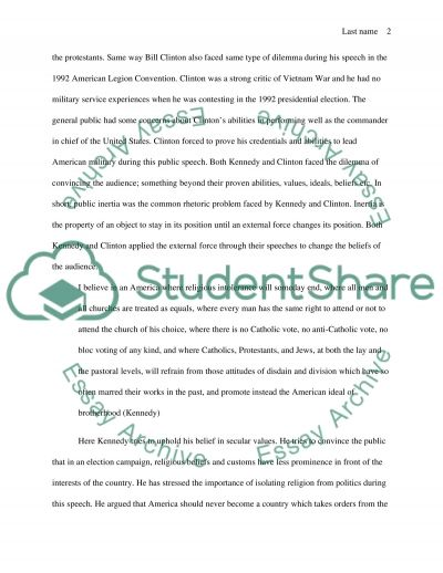 Comparing Rhetoric Styles of Kennedy and Clinton essay example