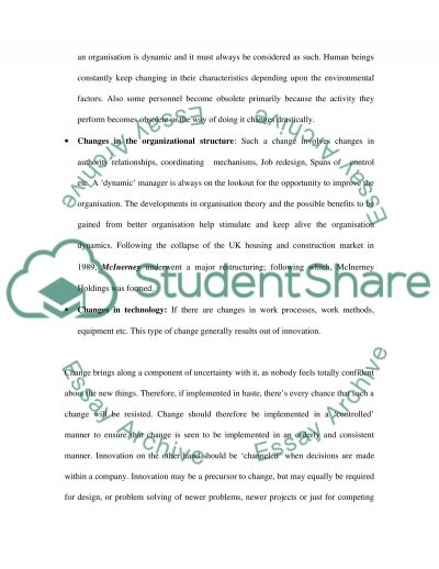 Management of Change and Innovation essay example