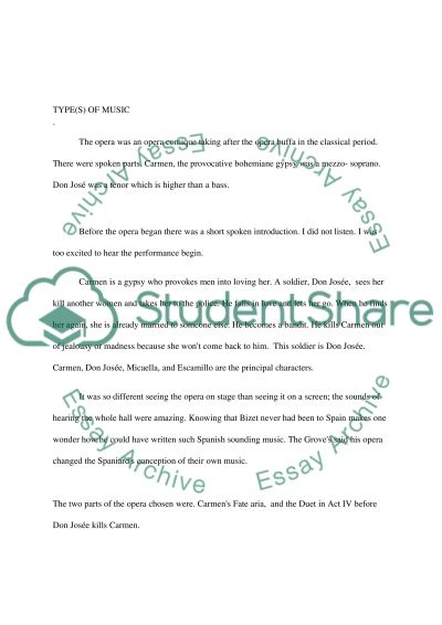 Carmen by Georges Bizet - Report essay example