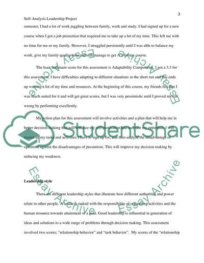 Self Analysis Leadership Profile Project