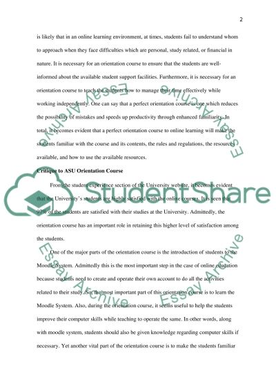 Online Orientation Course essay example