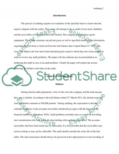 AUDITING Essay example