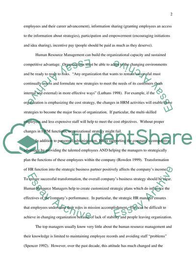 Strategic Human Resource Evaluation