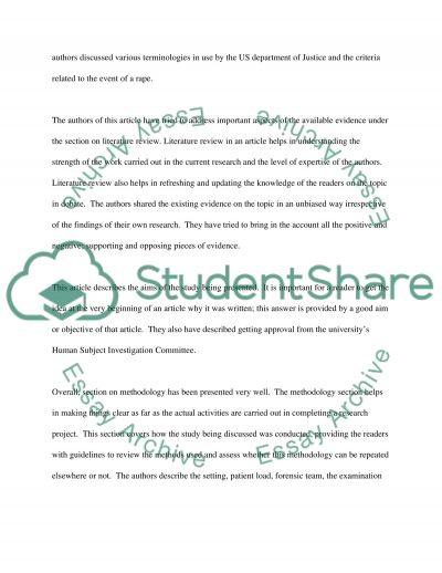 Nursing Article critique essay example