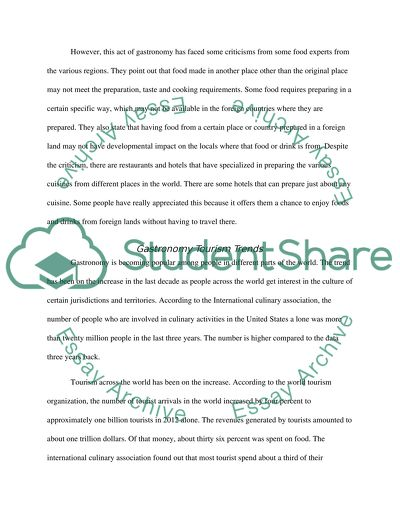 Gastronomy and Tourism Essay Example | Topics and Well Written