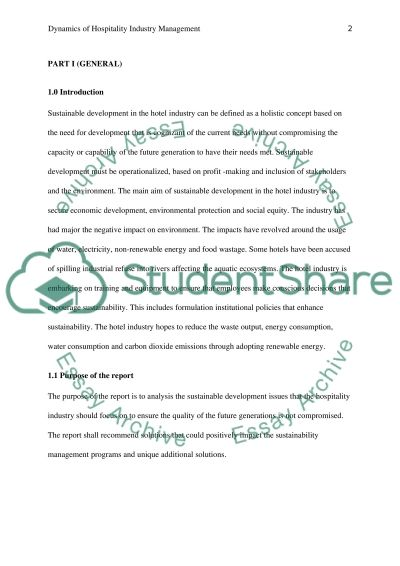Dynamics of Hospitality Industry Management report essay example