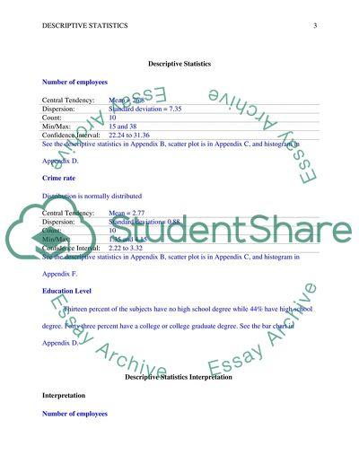 Descriptive statistics spreadsheet in Excel including graphs