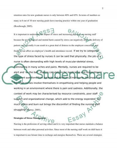 Impact of Stress on Nursing essay example