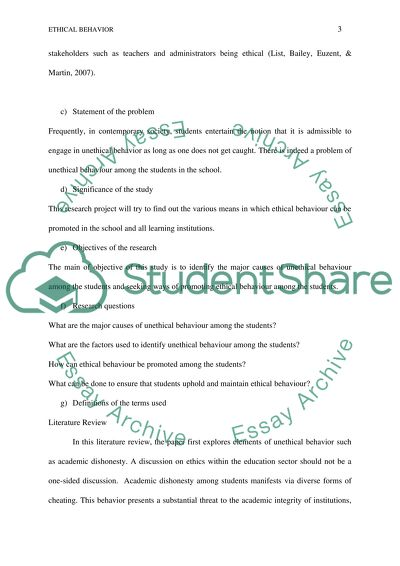 Creating a climate of Ethical Behaviour in the School