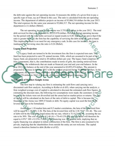 Matthew Knight Arena : Financial Forecasting essay example